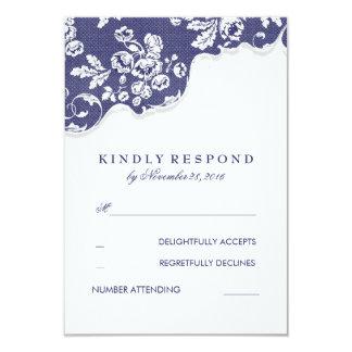 "Vintage White Lace Navy Wedding RSVP 3.5"" X 5"" Invitation Card"