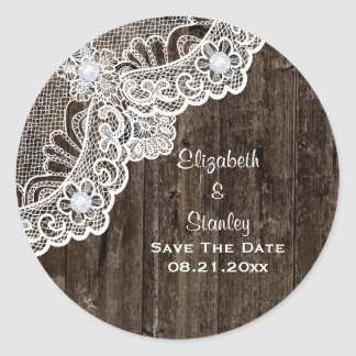 Vintage white lace, old wood wedding Save the Date Classic Round Sticker