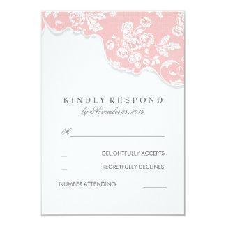 "Vintage White Lace Pink Wedding RSVP 3.5"" X 5"" Invitation Card"