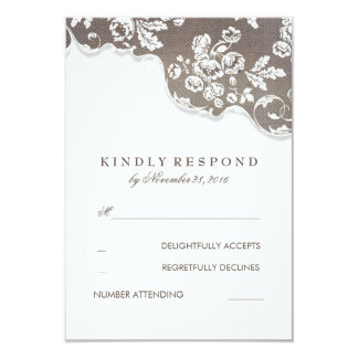 Vintage White Lace Rustic Wedding RSVP Card