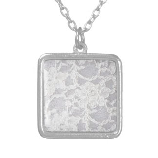 Vintage White Lace Silver Plated Necklace