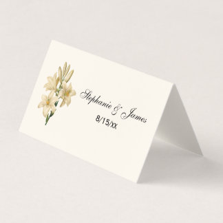 Vintage White Lilies Escort Card Place Card Ivory