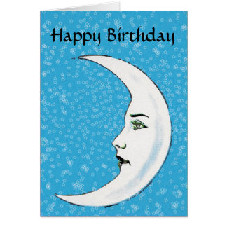 Vintage White Moon Face White Stars Birthday Card
