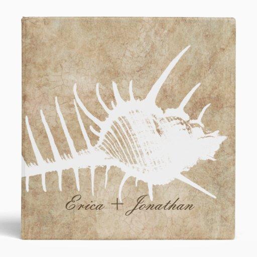 Vintage White Ocean Seahell Beach Wedding Planner Vinyl Binder