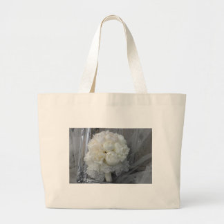 Vintage White Peonies Bridal Bouquet Large Tote Bag