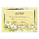 "Vintage white plumeria ivy on yellow RSVP card 3.5"" X 5"" Invitation Card"
