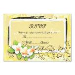 "Vintage white plumeria ivy on yellow RSVP card 3.5"" X 5"" Invitation Card"