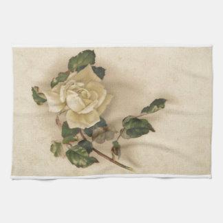 Vintage white rose hand towel