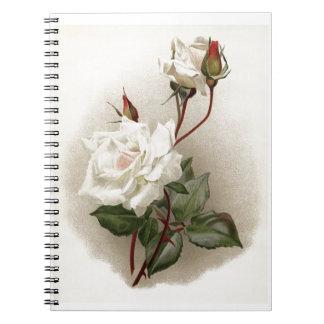 Vintage White Rose Spiral Note Book