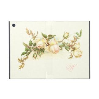 Vintage white rose spray iPad mini cases
