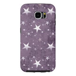 vintage white stars on purple background vector samsung galaxy s6 cases