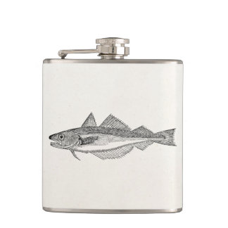 Vintage Whiting Fish - Aquatic Fishes Template Hip Flask