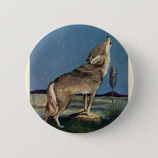 Vintage Wild Animal, Wolf Howling at the Moon 2 Inch Round Button