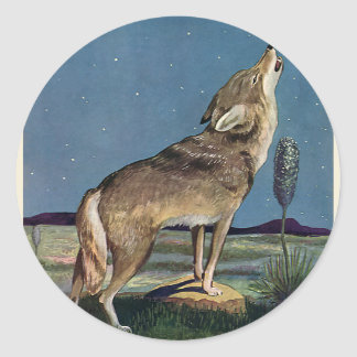 Vintage Wild Animal, Wolf Howling at the Moon Classic Round Sticker
