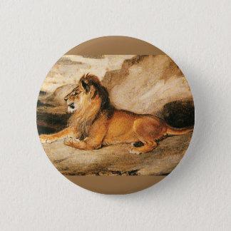 Vintage Wild Animals, African Lion on the Savannah 2 Inch Round Button