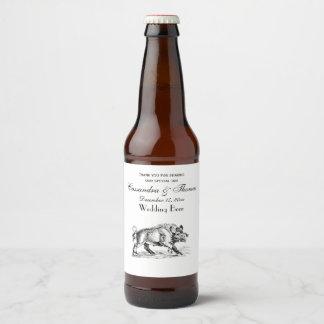 Vintage Wild Boar Drawing BW #2 Beer Bottle Label