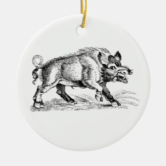 Vintage Wild Boar Drawing BW #2 Ceramic Ornament