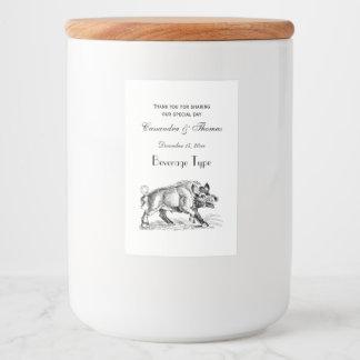 Vintage Wild Boar Drawing BW #2 Food Label