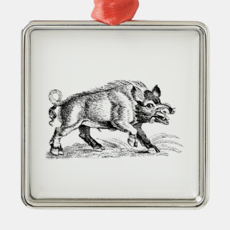 Vintage Wild Boar Drawing BW #2 Metal Ornament