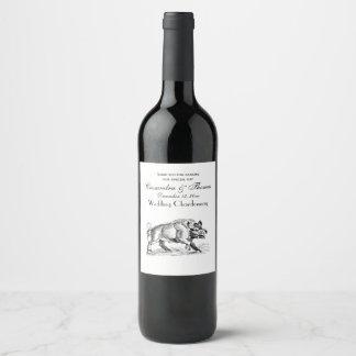 Vintage Wild Boar Drawing BW #2 Wine Label