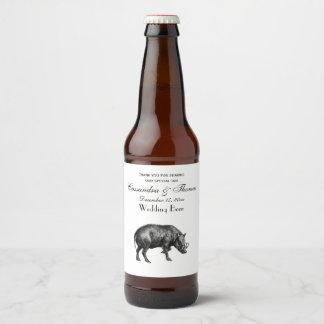Vintage Wild Boar Drawing BW Beer Bottle Label