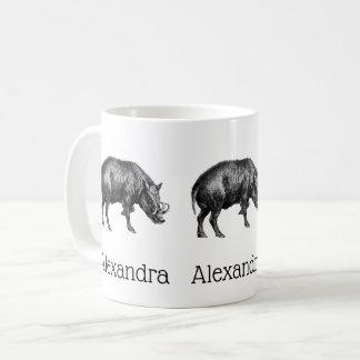 Vintage Wild Boar Drawing BW Coffee Mug