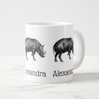 Vintage Wild Boar Drawing BW Large Coffee Mug