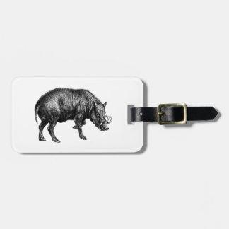 Vintage Wild Boar Drawing BW Luggage Tag