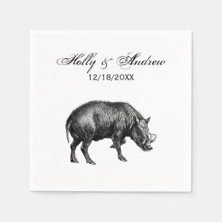 Vintage Wild Boar Drawing BW Napkin