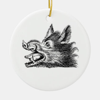 Vintage Wild Boar Head Drawing BW Ceramic Ornament