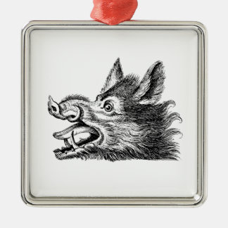Vintage Wild Boar Head Drawing BW Metal Ornament