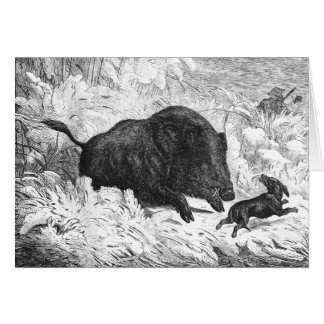 Vintage Wild Boar Hunt Greeting Card