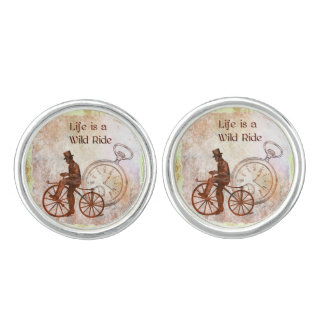 Vintage Wild Ride Steampunk Bicycle Collage Cuff Links