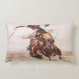 Vintage Wild West Cowboy on Bucking Horse Western Lumbar Pillow