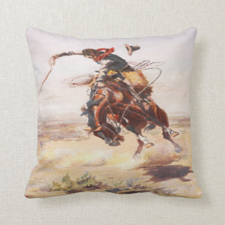 Vintage Wild West Cowboy on Bucking Horse Western Throw Pillow
