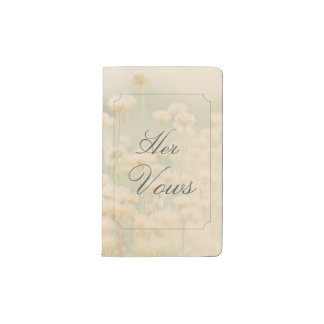 Vintage Wildflower Boho Wedding Bride Her Vows Pocket Moleskine Notebook