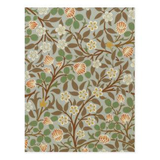 Vintage William Morris Clover Floral Design Postcard