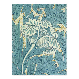 Vintage William Morris Tulip Floral Design Postcard