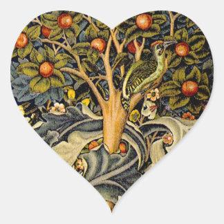 Vintage William Morris Woodpeckers Heart Sticker