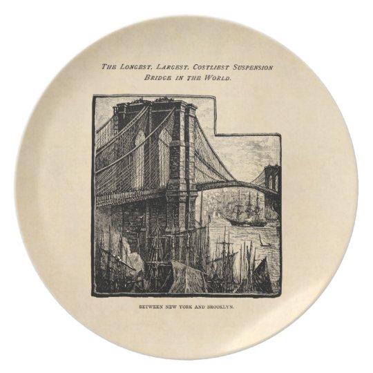 Vintage Williamsburg Brooklyn Bridge New York City Plate