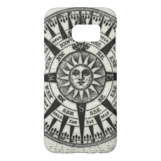 Vintage Wind Rose Conpass Black and Ivory Samsung Galaxy S7 Case