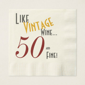 Vintage Wine, 50 and Fine Paper Napkin
