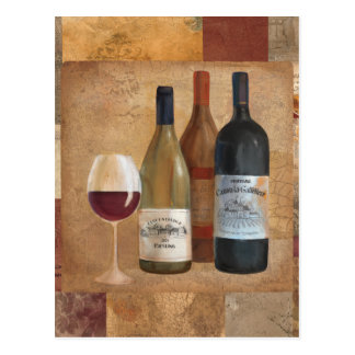 Vintage Wine Bottles and Wine Glass Postcard