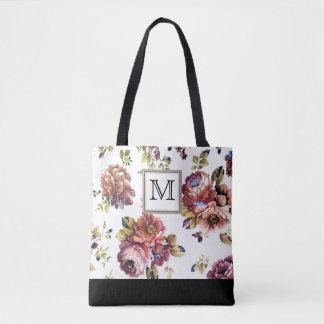 Vintage Wine Floral Monogram Tote Bag