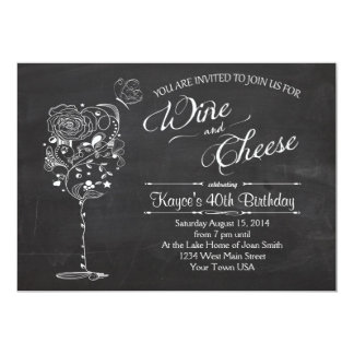 Vintage Wine Glass  & Cheese Birthday INvitation