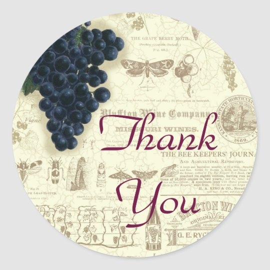 Vintage Wine Grape Collage Thank You Classic Round Sticker