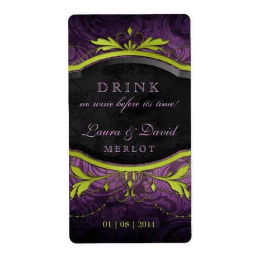 Vintage Wine Label Leaf Swirls Antique Lime Purple
