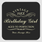 Vintage Wine Person Funny Black Birthday Sticker