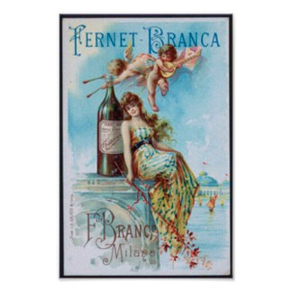 Vintage Wine with Lady and Cupids Poster