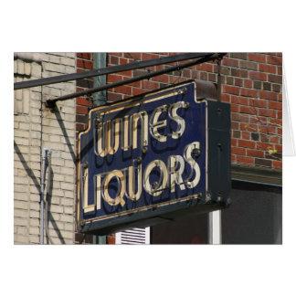 Vintage WINES & LIQUORS Notecard